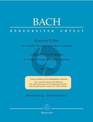 Bach Konzert E-dur BWV 1042 Violine-Streicher-Bc Klavierauszug (Dietrich Kilian) (Barenreiter-Urtext)