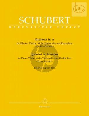Schubert Quintet A-major D.667 (Op.Posth.114) (Forellen) (Piano-Vi.-Va.-Vc.-Double Bass) (Score/Parts) (edited by Arnold Feil)
