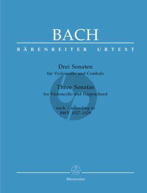 Bach 3 Sonaten nach BWV 1027 - 1029 Violoncello-Bc (Hans Eppstein) (Barenreiter-Urtext)