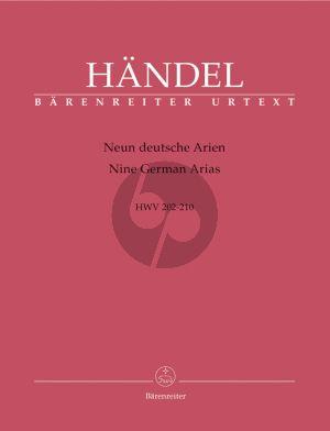 Handel 9 Deutsche Arien HWV 202 - 210 Sopran-Violine [Flote/Oboe]-Bc (Score/Parts) (Walther Siegmund-Schultze,)