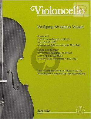 sonate b-dur nach kv 292 (196c) violonc.[bsn.]- piano)