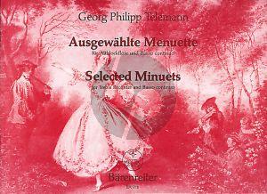 Telemann Ausgewählte Menuette TWV 34 für Altblockflöte (Violine, Querflöte, Viola da gamba) und Basso continuo (Herausgegeben von Waldemar Woehl)