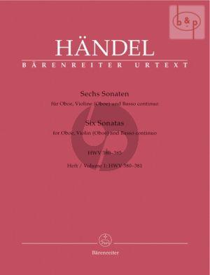 6 Sonaten Vol.1 (HWV 380 - 381) (Oboe-Vi.[Oboe]- Bc) (Score/Parts)