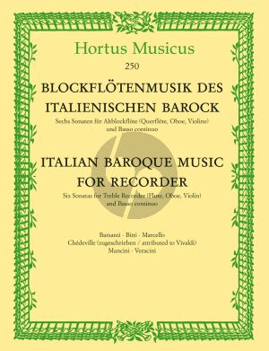 Italian Baroque Music for Recorder (6 Sonatas by Italian Composers) (Treble Rec [Flute/Oboe/ Violin]-Bc)