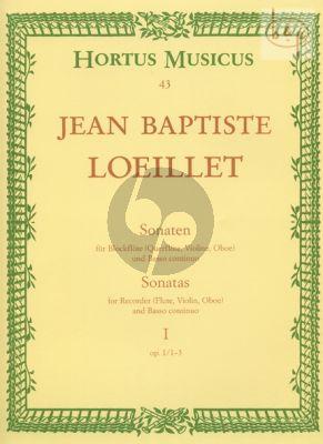 Loeillet de Gant Sonaten Op.I Vol.1 (No.1 - 3) (Hinnenthal) (Barenreiter)