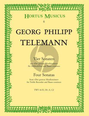 Telemann 4 Sonaten TWV 41:F2 ,B2 ,f1 ,C2 Altblockflöte und Bc (Der Getreue Musikmeister) (Johannes Dietz Degen)