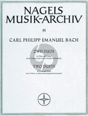 """Bach 2 Duos (aus """"Musikalisches Vielerley"""") Flöte-Violine (2 Flöten/2 Violinen) (Wolfgang Stephan)"""