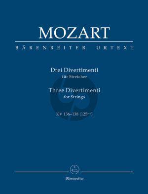 Mozart 3 Divertimenti KV 136 - 137 - 138 (125 A-B-C) Streicher Studienpartitur
