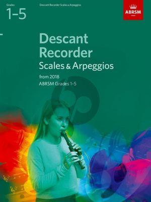 Descant Recorder Scales & Arpeggios, ABRSM Grades 1–5 for 2018