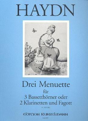Haydn 3 Menuette 3 Bassetthorner [2 Klar.-Fagott] (Original für Streicher Hob. IX:11) (FranzBeyer)