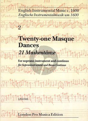 Album 21 Masque Dances Soprano Instrument and Basso Continuo (English Instrumental Music c.1600)