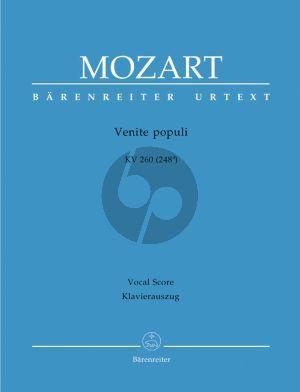 Mozart Venite populi KV 260 (248a) (SATB-SATB- 3 Tromb.- 2 Vi.-Bc) (Vocal Score) (Barenreiter)