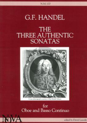 Handel 3 Authentic Sonatas Oboe-Bc (edited by David Lasocki)