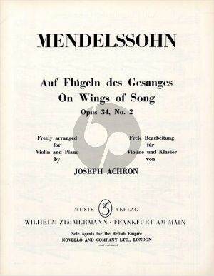 Mendelssohn Auf Flugeln des Gesanges Op.34 No.2 Violine-Klavier (arr. Joseph Achron)