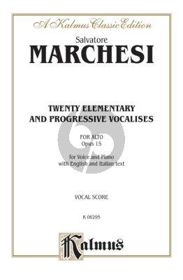 Marchesi 20 Elementary & Progressive Vocalises Op.15 Low Voice