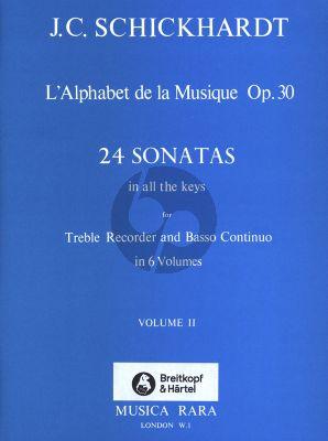 Schickhardt L'Alphabet de La Musique Op.30 - 24 Sonatas Vol.2 No.5-8 Treble Recorder and Bc (Edited by Paul J. Everett)