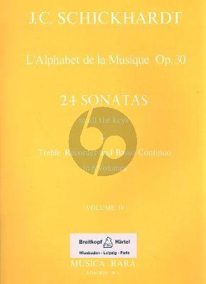 L'Alphabet de La Musique Op.30 - 24 Sonatas Vol.4 No.13-16 Treble Recorder and Bc