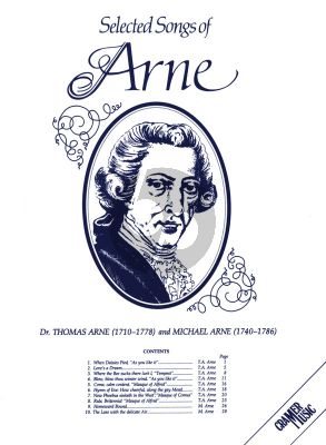 Arne Selected Songs of Thomas and Michael Arne for Voice and Piano