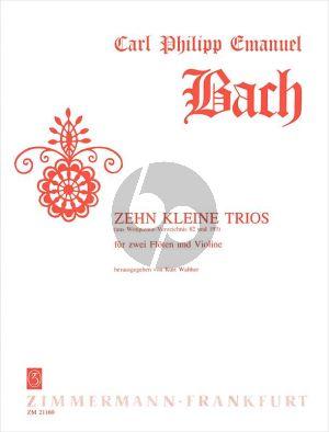 Bach 10 Kleine Trios WQ 82-193 2 Flöten-Violine (Part./Stimmen) (Kurt Walther)