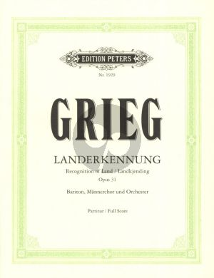 Grieg Landerkennung (Landkjending) Op.31 Bariton-Mannerchor-Orchester Partitur (Norwegisch/Deutsch)