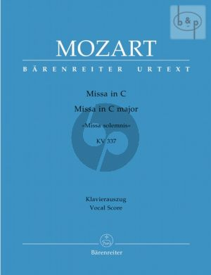 Missa Solemnis C-major KV 337 (Soli-Choir- Orch.) (Vocal Score)