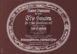 Valentine Triosonaten 2 Altblockfloten[Floten oder Violinen] und Bc [Klavier] (Herausgegeben von Hildemarie Peter) (Generalbass Aussetzung Kurt Bossler)