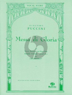 Puccini Messa di Gloria Soli-Choir-Orchestra Vocal Score