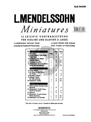 Mendelssohn Miniatures Vol.1 for Violin and Piano (Easy Pieces in the 1st.Position)