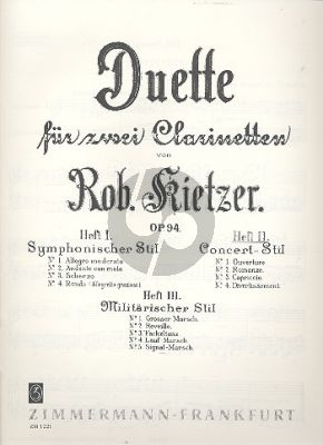 Kietzer Duette Op.94 Vol.2 Konzert Stil 2 Klarinetten