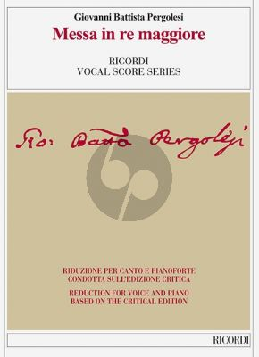 Pergolesi Messa D-major Soli-Choir-Orch. Vocal Score