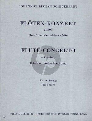 Schickhardt Konzert g-moll for Flute [Treble Recorder] and Orchestra (Piano Reduction) (Herausgegeben von Wilhelm Mohr)