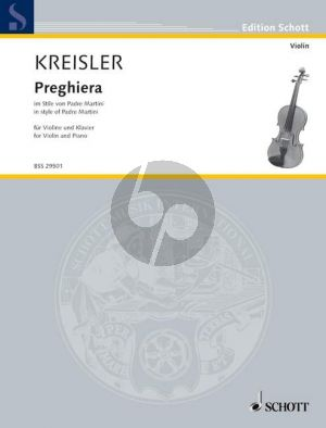 Kreisler Preghiera im Stile von Padre Martini Violine-Klavier