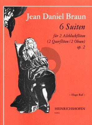 Braun 6 Suiten Op. 2 2 Altblockflöten (Spielpartitur) (Hugo Ruf)