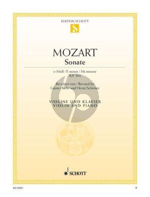 Mozart Sonata e-moll KV 304 (1778) Violine und Klavier (Kehr-Schroter) (grade 4)