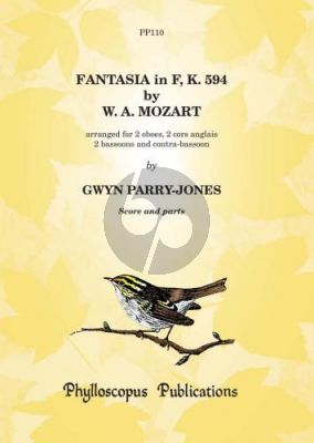 Mozart Fantasia F-major KV 594 2 Ob.-2 Cor Angl.- 2 Bns-Contra Bsn. (Score/Parts) (arr. Gwyn Parry-Jones)