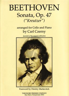 """Beethoven Sonata Op.47 """"Kreutzer"""" Violoncello and Piano (Ediited by Carl Czerny)"""