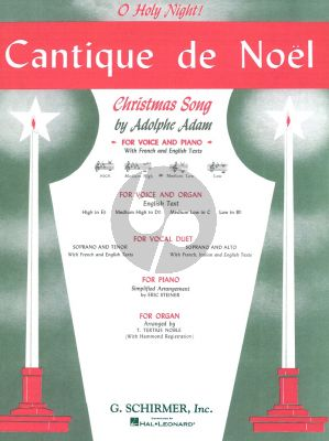 Adam Cantique de Noel (Medium-Low Voice (C)-Piano) (French-English) (Edited Carl Deis)