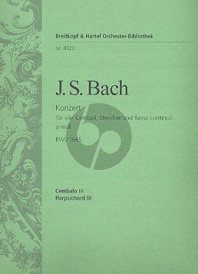 Bach Concerto a-moll BWV 1065 4 Cembali-Str.-Bc Cembalo 3 Stimme