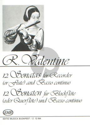 Valentine 12 Sonatas Treble Recorder[Flute]-Bc (edited by László Kalmár)