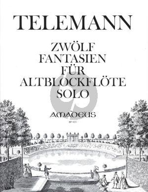 Telemann 12 Fantasien TWV 40:2-13 fur Altblockflöte Solo (Übertragung Martin Nitz)