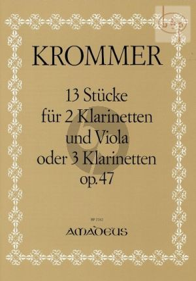 13 Stucke Op.47 (2 Klarinetten-Viola[oder 3 Klarinetten)