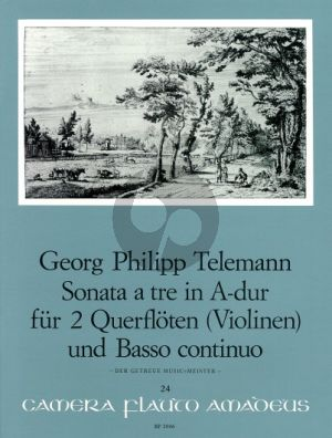 "Telemann Sonata a tre A-major TWV Anh. 42:A (from ""Der getreue Musikmeister) 2 Flutes[2 V.]-Bc)"