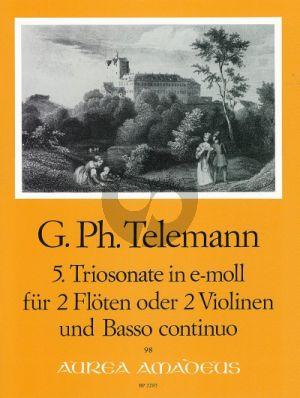Telemann Trio Sonata e-minor TWV 42:e1 2 Flutes[2 Vi.]-Bc