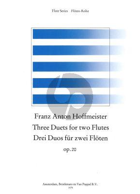 Hoffmeister 3 Duets Op.20 Vol.1 2 Flutes (edited by Frans Vester) (Grade 3) (Parts)