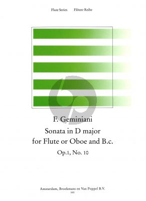 Geminiani Sonata D-major Op.1 No.10 Flute[Oboe]-Bc (Score/Parts) (edited by Thiemo Wind)