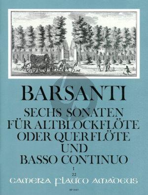 Barsanti 6 Sonaten Vol. 1 No. 1 - 3 Altblockflöte (Flöte)-Bc (Willy Hess)