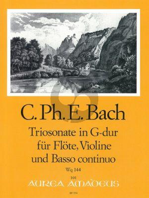 Bach Triosonate G-dur Wq 144 Flöte[Oboe/Violine-Violine-Bc (Part./Stimmen) (Manfredo Zimmermann)