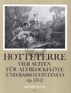 Hotteterre 4 Suiten Op.5 Vol.1 (No.1-2) Altblockflöte und Bc (ed. Manfredo Zimmermann)