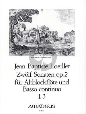 Loeillet 12 Sonaten Op.2 Vol.1 (No. 1-3) Altblockflote und Basso Continuo [Klavier]