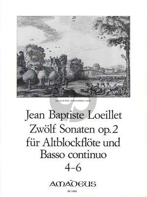 Loeillet 12 Sonaten Op.2 Vol.2 (No.4-6) Altblockflote un Basso Continuo [Klavier]